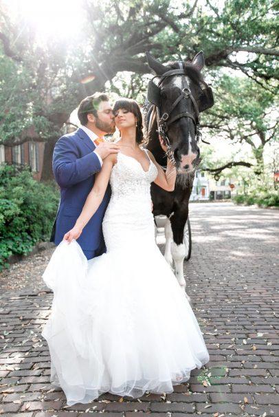 Gingerbread Wedding-Savannah, GA- Horse and Carriage Bride and Groom Portraits-Wedding Photographer-Bronston photography