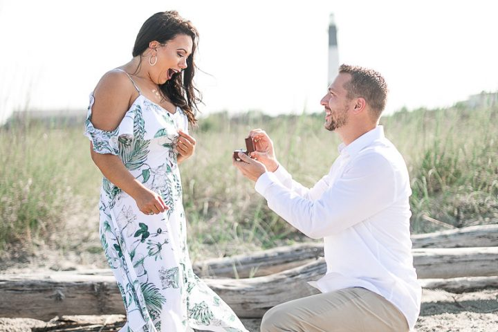 tybee island lighthouse-surprise proposal-engaged-engagement photographer
